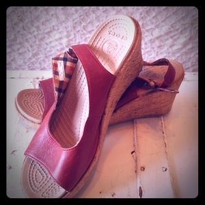 """""""Crocs cork wedge sandals"""